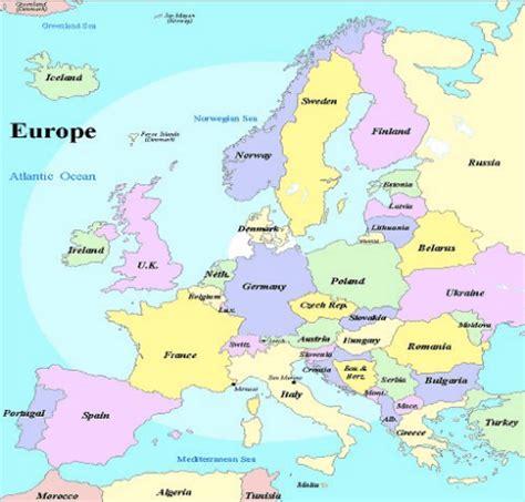 european seas map europe