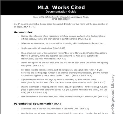 Works Cited Outline by Mla Works Cited Classroom Libraries