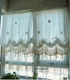 Shabby Chic Kitchen Curtains Shabby Chic Drawnwork Combined Crochet White By Qfunvalue