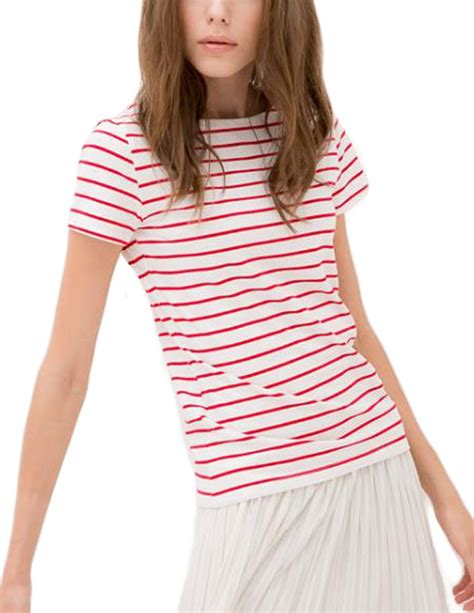 Boat Neck Sleeve T Shirt summer sleeve boat neck stripe t shirt tops