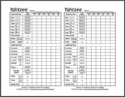 printable yahtzee score sheets online printable yahtzee score sheets grandchildren pinterest