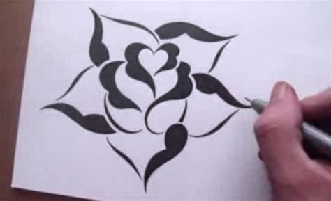 pattern drawing rose drawing a rose in a simple stencil design style youtube