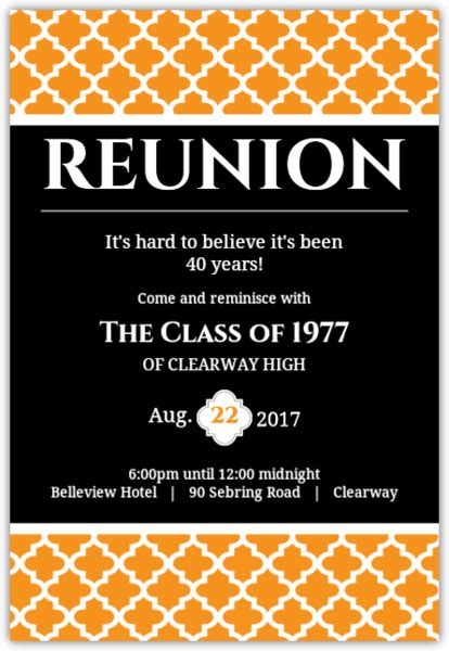 design mug reuni black and orange 40 year class reunion invitation
