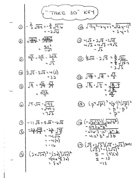 Algebra 2 Worksheets With Answer Key by Iroquois Algebra Unit 10 Take 30 Worksheet Answer Key