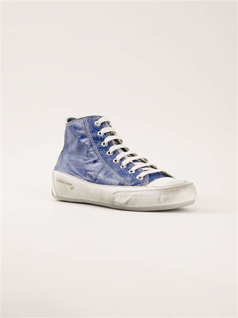 paint sneakers candice cooper cracked paint sneakers in blue lyst