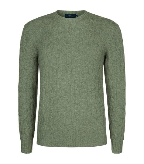 Polo Ralph Cable Knit Sweater In Green For