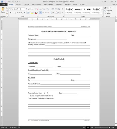 Credit Review Form Credit Approval Request Template