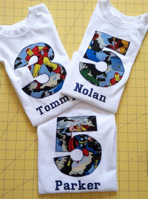 avengers birthday shirt kids appliqued personalized  shirt