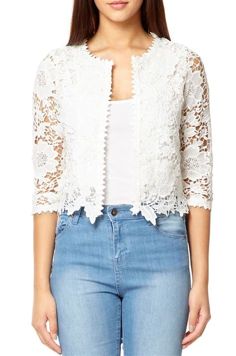 Lace Bomber Jacket Colour By Mothercare quiz white lace crop jacket in white lyst
