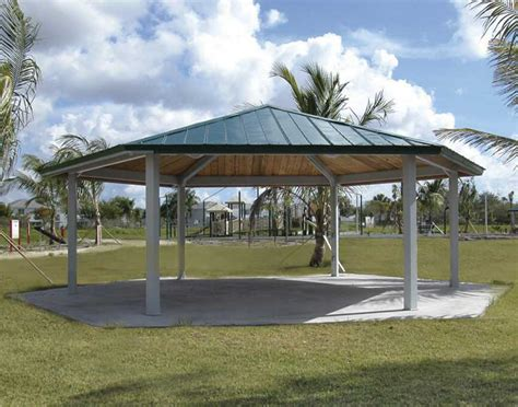 pavillon flachdach metall steel frame single roof orchard hexagon pavilions
