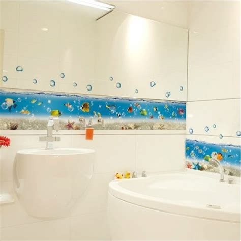 bathtub stickies cartoon sea world bathroom bathtub kitchen sticker wall
