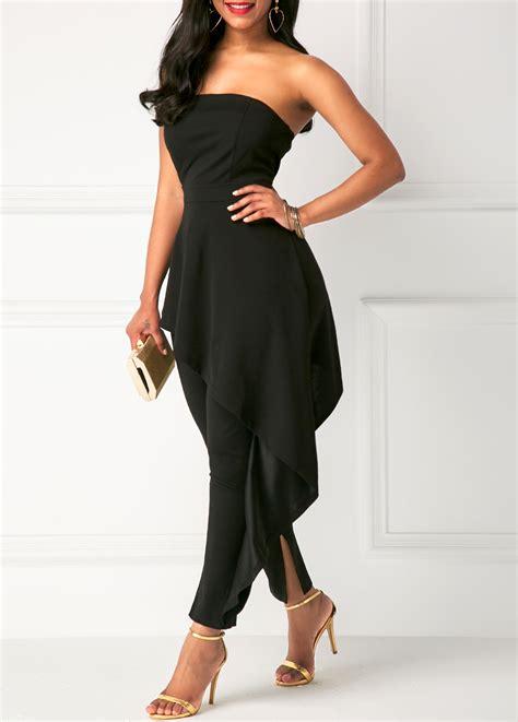 High Waist Jumpsuit black strapless high waist ruffle overlay jumpsuit
