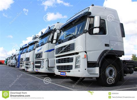 first volvo truck row of volvo trucks editorial stock image image 33393259