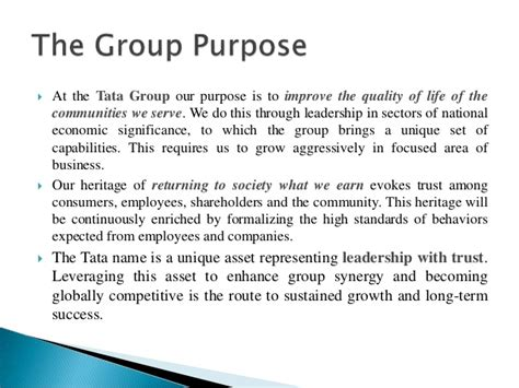 Mba Csr Of Tata by Ppt On Csr At Tata Grp Of Companies