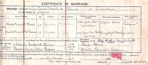 Islington Marriage Records Tessier Family