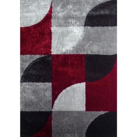 Modern Area Rugs 6x9 by Hand Tufted Polyester Red With Light Silver To Dark Gray