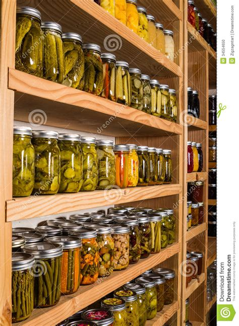 Kitchen Storage For Canned Goods by Storage Shelves With Canned Goods Stock Photo Image