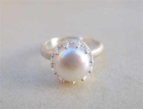 pearl ring engagement ring silver ring delicate by
