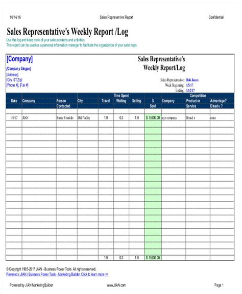 sales representative report template 18 free weekly report templates free premium templates