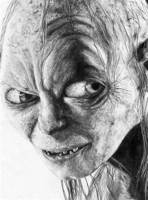 pencil drawing gollum pencil sketch by n00dleincident on deviantart