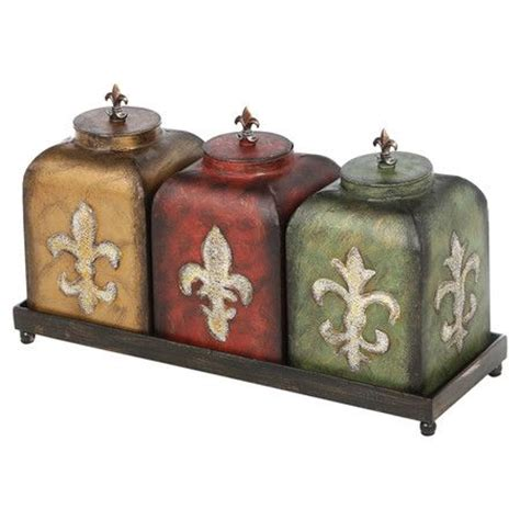 stainless steel fleur de lis finials canister set kitchen 4pc tuscan silver new ebay fleur de lis kitchen canisters 28 images casa cortes