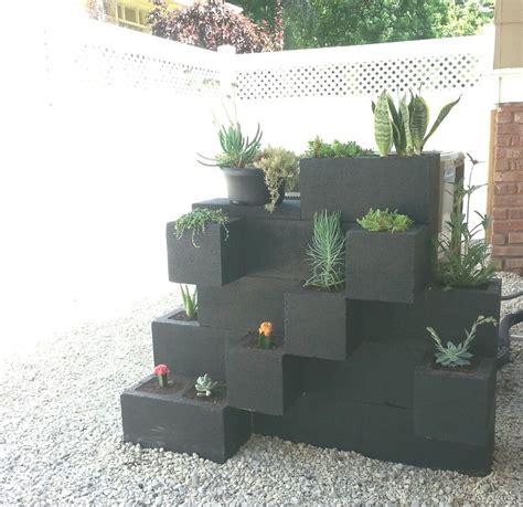 painted cinder blocks planter succulents hide air