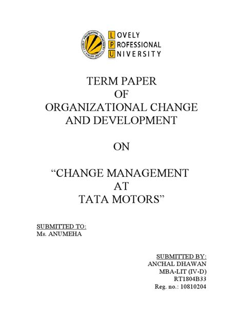 Mba Organizational Change Management by Term Paper On Change Management At Tata Motors