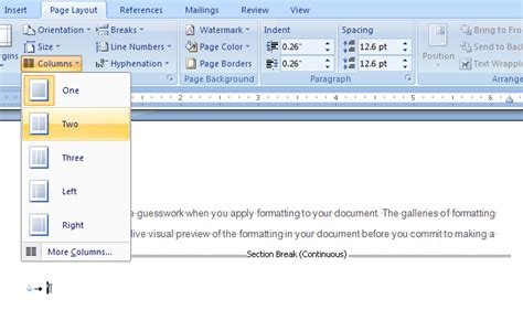 layout in microsoft word how to combine single and two column formats on the same