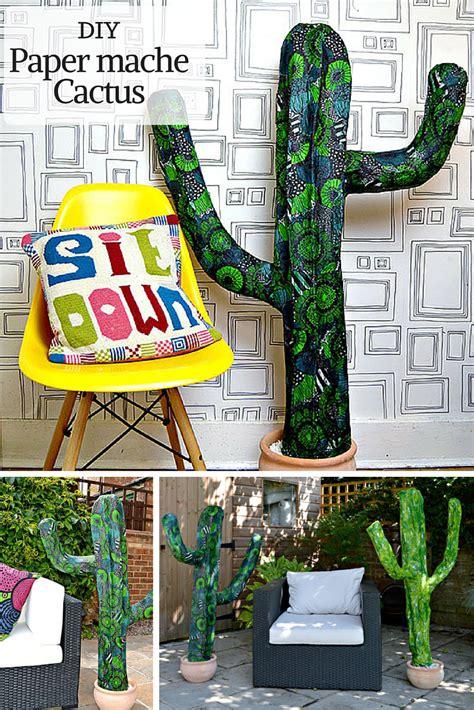 easy diy paper mache cactus pillar box blue