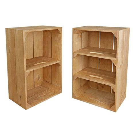 wooden display crate with shelves