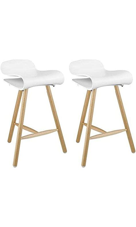 bar stools wooden legs 2xhome set of two 2 white 26 5 inches bar stool