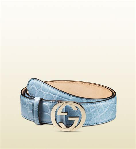Gucci 2014 Blue gucci crocodile belt with interlocking g buckle in blue lyst