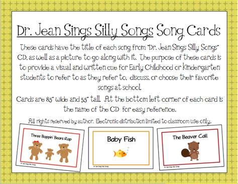 song cards quot dr jean sings silly songs quot printable song cards