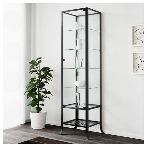 top glass cabinet ikea on klingsbo glass door cabinet black clear glass 45x180 cm ikea