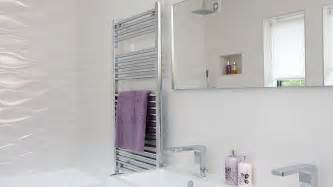 Radiator Bookcase Modern White Bathroom With Wave Effect Tiles The Room Edit