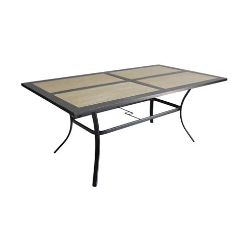 Tile Top Patio Dining Table Shop Garden Treasures Folcroft 39 84 In W X 71 5 In L 6 Seat Brown Steel Patio Dining Table With