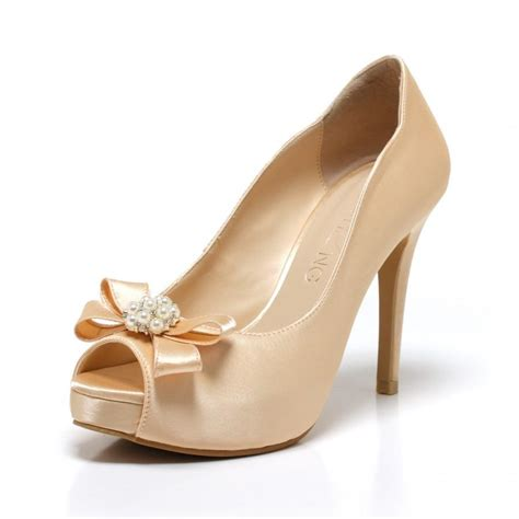 Ivory Gold Wedding Shoes by Precious Pearl Chagne Gold Pearl Adorned Wedding Shoes