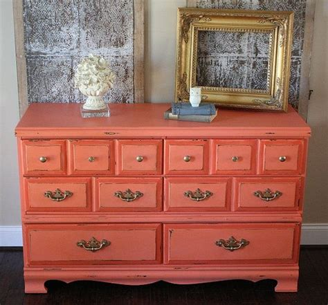 Coral Painted Dresser by Vintage Painted Two Tone Coral Dresser With Gold Handles