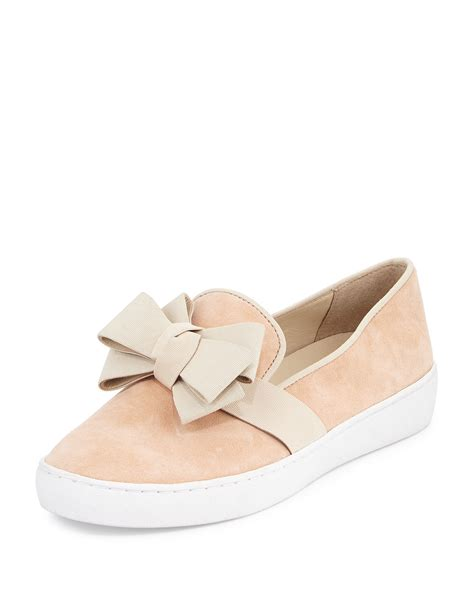 michael kors sneakers michael kors val bow suede sneakers in pink lyst