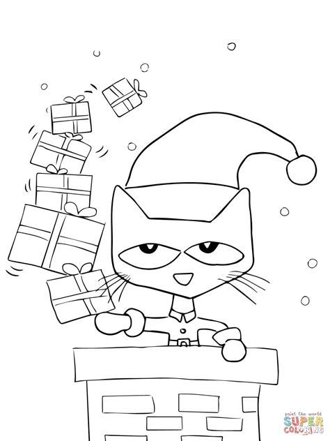 Pete The Cat Saves Christmas Coloring Page Free Pete The Cat Coloring Printable