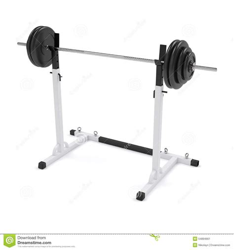 standing bench press barbell on the stand stock photo image 54894661