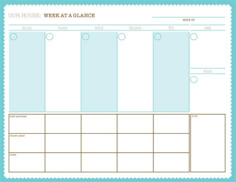 Week At A Glance Free Printable Variety Of Calendars Schedule Sheets Organizers Meal Schedule At A Glance Template