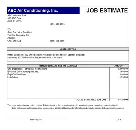 job estimate template job estimate form