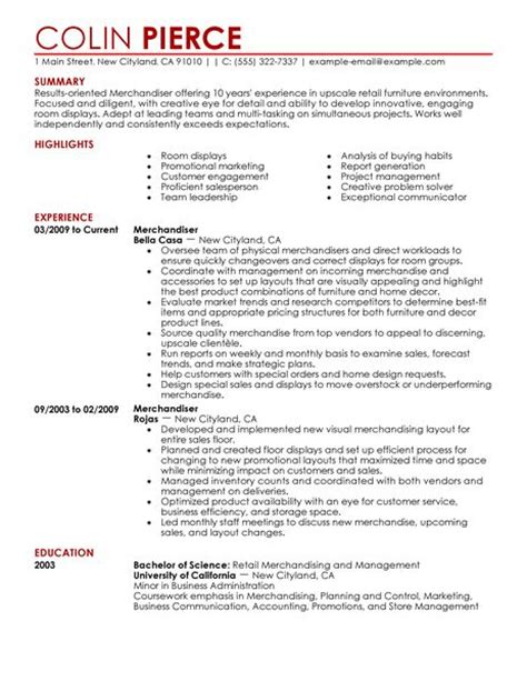 Resume Exles For Retail Merchandising Merchandiser Retail Representative Part Time Resume