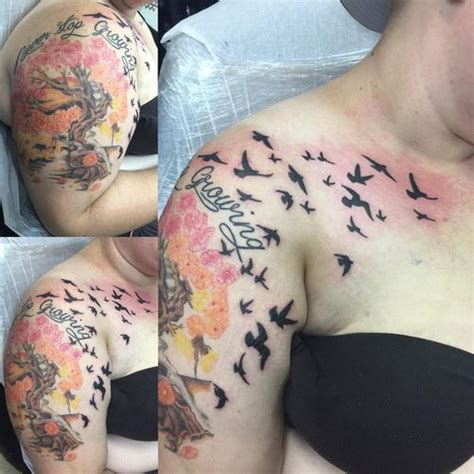 Collection Of 25 Flock Of Birds Tattoo On Shoulder Back Flock Of Birds Back