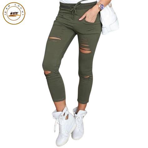 Celana Joger Strech Size S M 1 2016 fashion hollow out sweatpants cargo jogger stretch