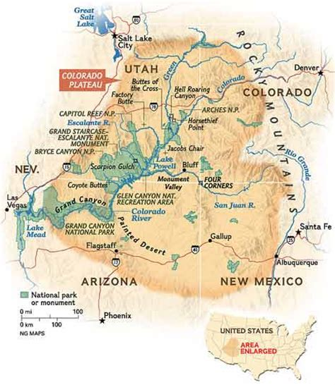 Colorado Plateau Map by Colorado Plateau State Of Rock Map National Geographic
