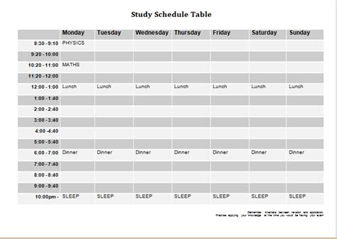 study plan template for students student study schedule template calendar template 2016