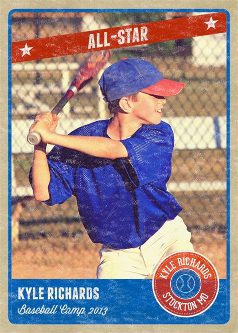 Photography Photo Card Template Retro Sports Baseball Card Inspired Baseball Photo Templates Photoshop