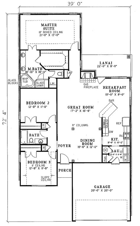 home design blueprints traditional style house plan 3 beds 2 baths 1750 sq ft plan 17 102